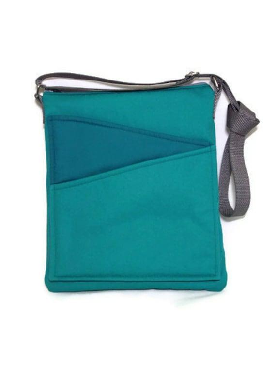 Green cross body bag iPad, handbag green fabric, long strap lined handbag zip fastening