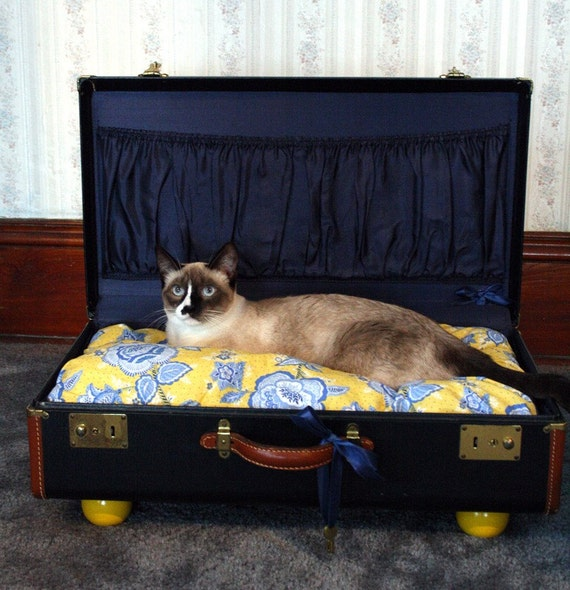 SnuggyLuggage Suitcase Pet Bed Vintage Upcycled Cat Dog Navy Yellow