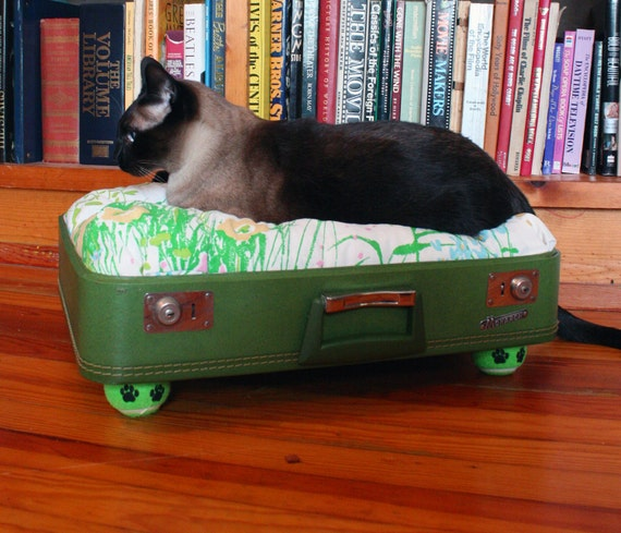 SnuggyLuggage Suitcase Pet Bed Vintage Upcycled Cat Dog Olive Green Paw Print Tennis