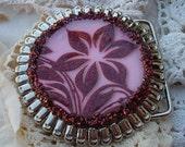 Pink and Burgundy Flower Belt Buckle