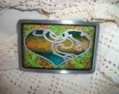 Green, Gold, Turquoise and Silver Heart Belt Buckle