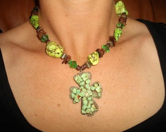 Green and Brown Cross Necklace