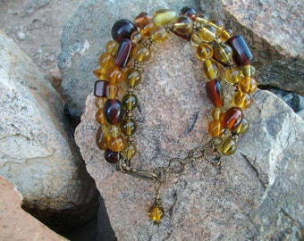 Gold and Brown Glass Bracelet