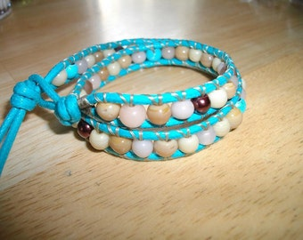 Tan and Turquoise Cowgirl Wrap Bracelet