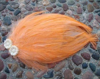 Peach Hackle Fascinator - Choose headband, barrette, comb or clip