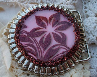 Pink and Burgundy Flower Belt Buckle