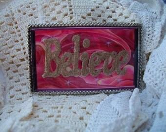 Believe Pink Belt Buckle