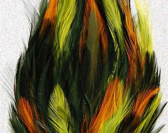 Moss Green, Yellow and Orange Hackle Feather Pad