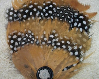 Golden Yellow, Black and White Feather Fascinator with Flower - Choose headband, barrette, comb or clip