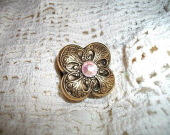 Antique Gold Flower and Crystal Stretch Ring