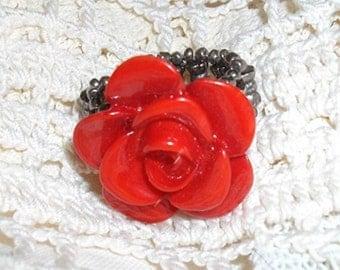 Red Flower Stretch Ring