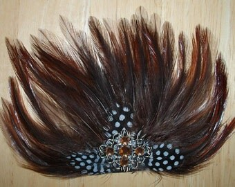 Brown and  Black Feather Fascinator with Filigree and Brown Crystals - Choose headband, barrette, comb or clip