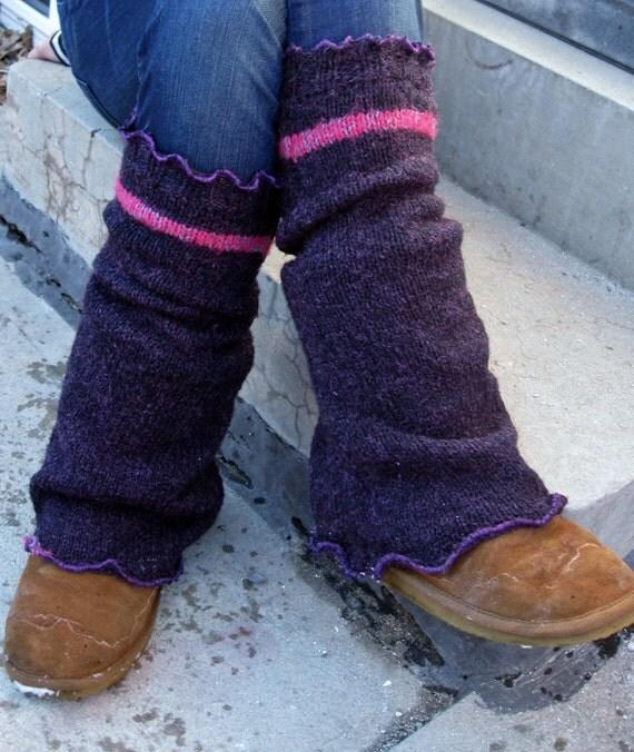 Eco Friendly Upcycled Sweater Knee High Chunky Leg Warmers