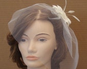Tulle Birdcage Veil Available in White, Ivory, Champagne, and More - READY TO SHIP