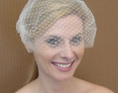 Double Layer Bandeau Style Birdcage Veil in Ivory White or Black - READY TO SHIP in 3-5 Days