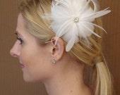 White Bridal Feather Flower with Rhinestone Button on Alligator clip - Ready to ship
