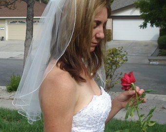Elbow Length One Tier Serged Pencil Edge Wedding Veil in Ivory or White - READY  TO SHIP in 3-5 Days