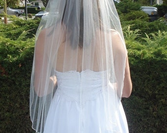 One Tier Finger Tip Length Veil With Serged Pencil Edge, Ivory or White - READY TO SHIP in 3-5 Days