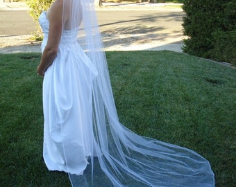 One Tier Chapel Length Bridal Veil With Pencil Edge - READY TO SHIP in 3-5 Business Days