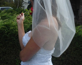 Wedding Bubble Veil, Elbow Length - READY TO SHIP in 3-5 Days