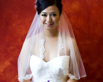 Wedding Veil with Beaded Applique - Many Lengths in ivory or white