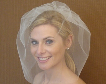 Tulle Full Face Birdcage Veil in Light Ivory, Diamond White, White, Blush, Champagne, Black - READY TO SHIP in 3-5 Days