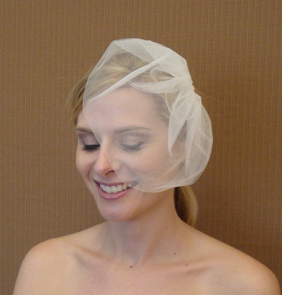 Tulle Pouf Veil in Ivory, White, Blush, Champagne, or Black - READY TO SHIP in 3-5 Days
