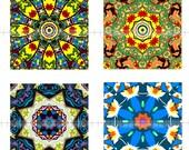 Digital Collage Sheet - Digital Art - Kaleidoscopes - Mandalas - 1 X 1 Inch - Pendants - Glass Tiles - Jewelry Supplies -  CS 168