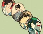 SALE - Digital Collage Sheet  Asian Art Japanese Oval Cabochon Vintage Geisha 30 X 40 mm Printable Download CS 145