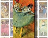 Printable DEGAS Ballerinas, 1 X 2 Digital Art, for Scrapbooking Stationery Pendants Dominoes Collage Decoupage  CS 205