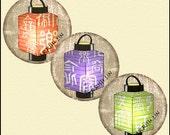 Asian Art - Digital Collage Sheet - Digital Art - Instant Download - Printable - Paper Lantern - 1 Inch Circles - Embellishments -  CS 241