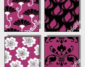 Digital Art, 1 Inch Squares, Raspberry Pinks, Black and White, Swirls and Flowers, World Designs, 48 Squares, CS 26