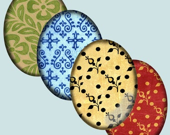 Printable Digital Oval Cabochon Ornate Brocade Damask Designs 30 X 40 mm Printable Download CS 148
