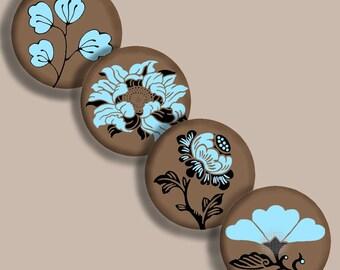 Printable 1 Inch Circles -- Digital  Sheet-- Asian Japanese Brown Blue Black  Bottlecaps Jewelry Image Transfer Pendants Scrapbooking CS 121