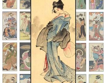 Digital Collage Sheet, Digital Art,  1 X 2 Inch,  Geisha Antique Asian Art Clipart Japanese Art Printable Download  CS 155