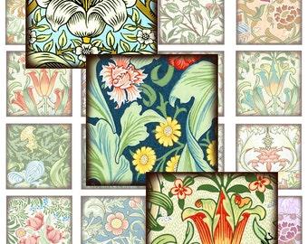 """Printable  Digital Collage Sheet 1.5"""" (Or Smaller) Squares 24 Art Nouveau Wallpaper Scraps Vintage Images Clipart CS 225"""