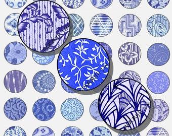 Printables  Asian Art, 1 Inch Circles,  Digital  Sheet,  Shades of Indigo Blue & White Designs 48 Images Printable Download CS 101