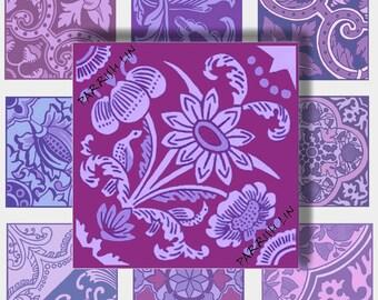Scrabble Size Digital Art Purple Shades Ornate Tiles Embellishments Clip Art Graphic Design Digital Collage Sheet CS 263