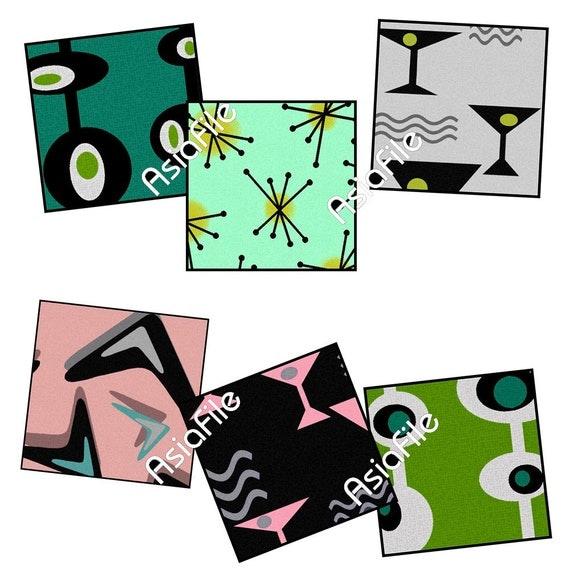 Printable  Digital Art,  Retro, Modern, Digital Clip Art, Digital Paper, Printable, 1-Inch Squares, Mad Men Inspired, MM1-4 SQ
