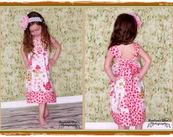 LAST ONE Girls Knot Dress Strawberry Tea Party Toddler Infant Girls