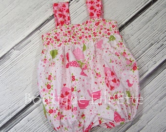 LAST TWO Girls Bubble Sunsuit Vintage Retro in Strawberry Tea Party Collection Toddler Infant Girls