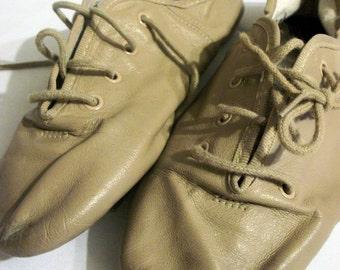 Vintage kids tan lace-up jazz shoes