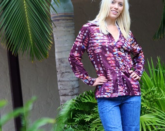 1970's Funky multi-color oval maroon long sleeve collared button down top