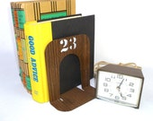 UPCYCLED Faux Wood  INDUSTRIAL BOOKENDS