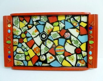 Red Mosaic Tray