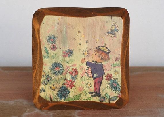 Vintage Kitsch Wuersch Decorative Wood Plaque