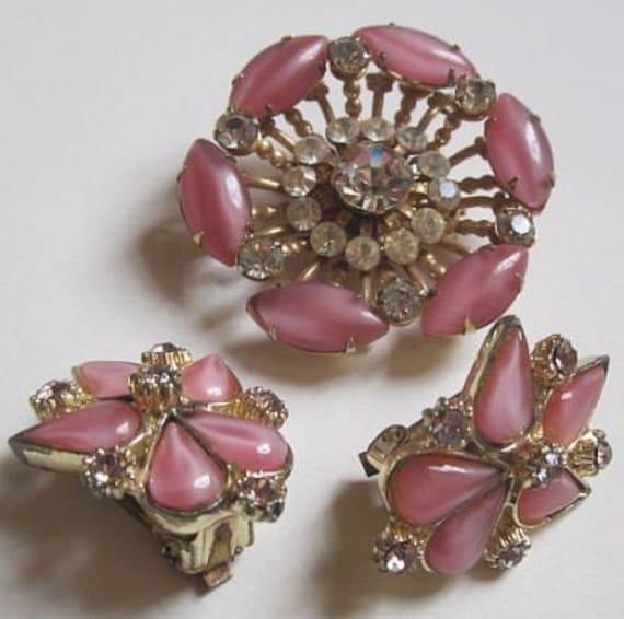 Vintage Moonglow and Rhinestone Brooch and Earrings Set Etsy Sale