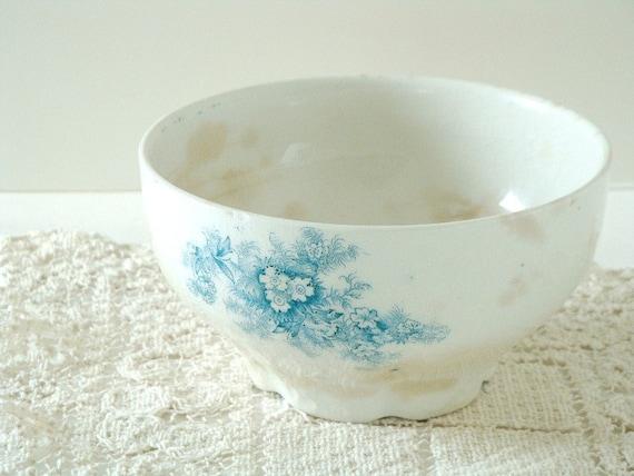 reserved for cmcabot - aqua transferware ironstone bowl