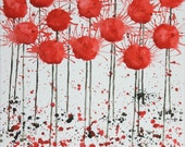 Red Abstract Flowers Painting on Canvas 11x14