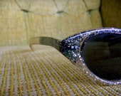 Vintage Cat Eye Sunglasses Sparkly Gold Specks Two Tone